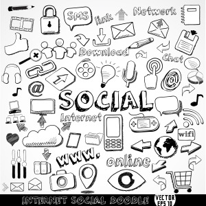 Set of Internet social strategy doodle element, vector illustrat